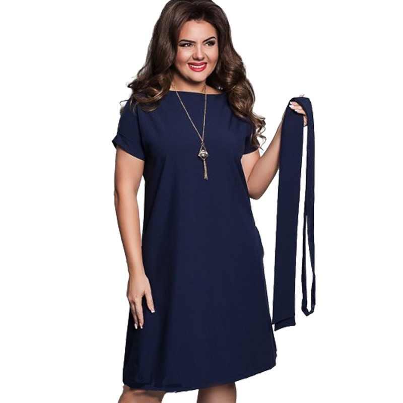 56b62836b44 Новая мода плюс размер дамы тонкий элегантный женский синий красный платья  Большой размер одежда лето с