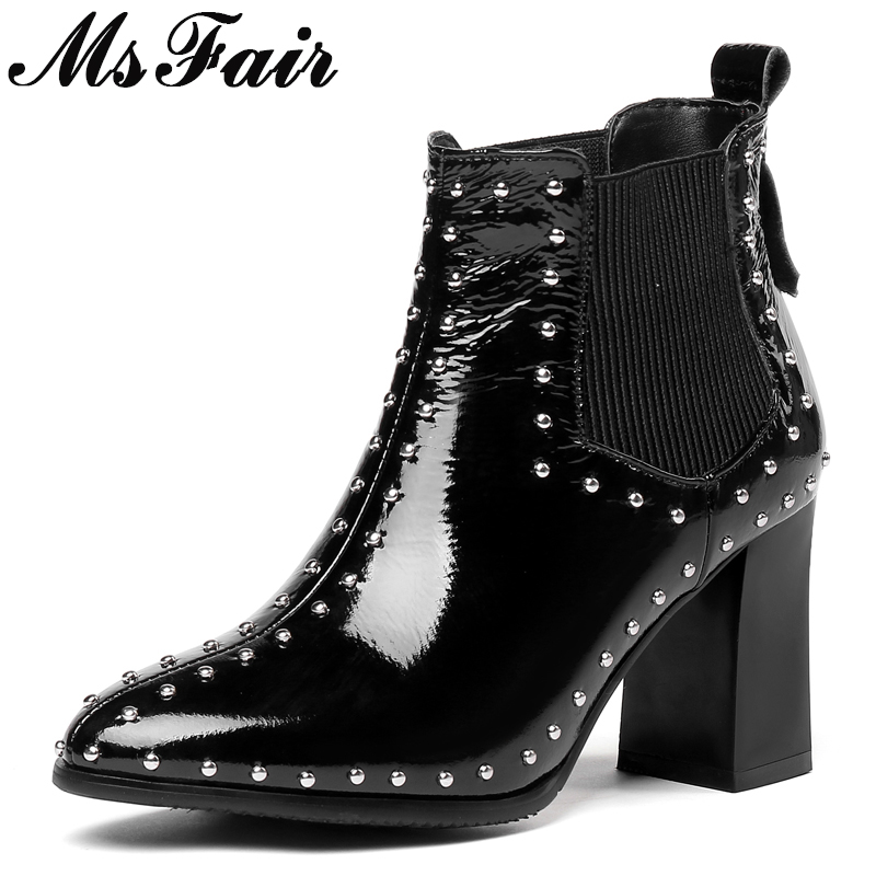 MSFAIR Pointed Toe Square heel Women Boots Fashion Rivet High Heel Ankle Boots Women Shoes Winter Short Plush Boots Shoes Woman 10mm hose barb x socket pneumatic c type self locking fittings quick release connector for air compressor