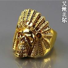 Envío de la alta calidad 24 K Gold filled anillos de indio cabeza del cráneo del anillo bijouterie accesorios hombres joyería 2014