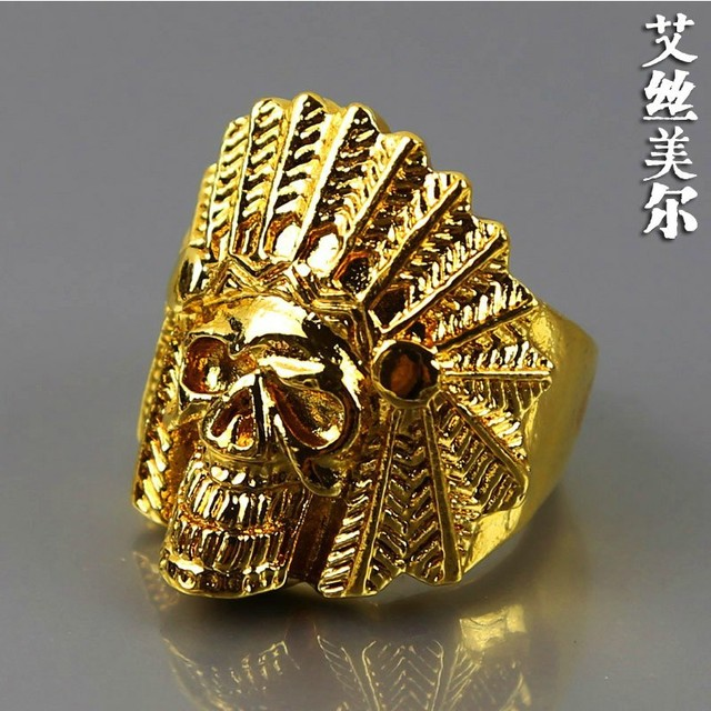 Free shipping high quality fashion 24K Gold filled rings hiphop Indian skull head ring bijouterie accessories men jewelry 2014