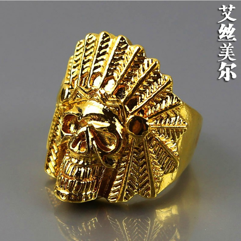 JHNBY high quality fashion Gold color rings hiphop Indian skull