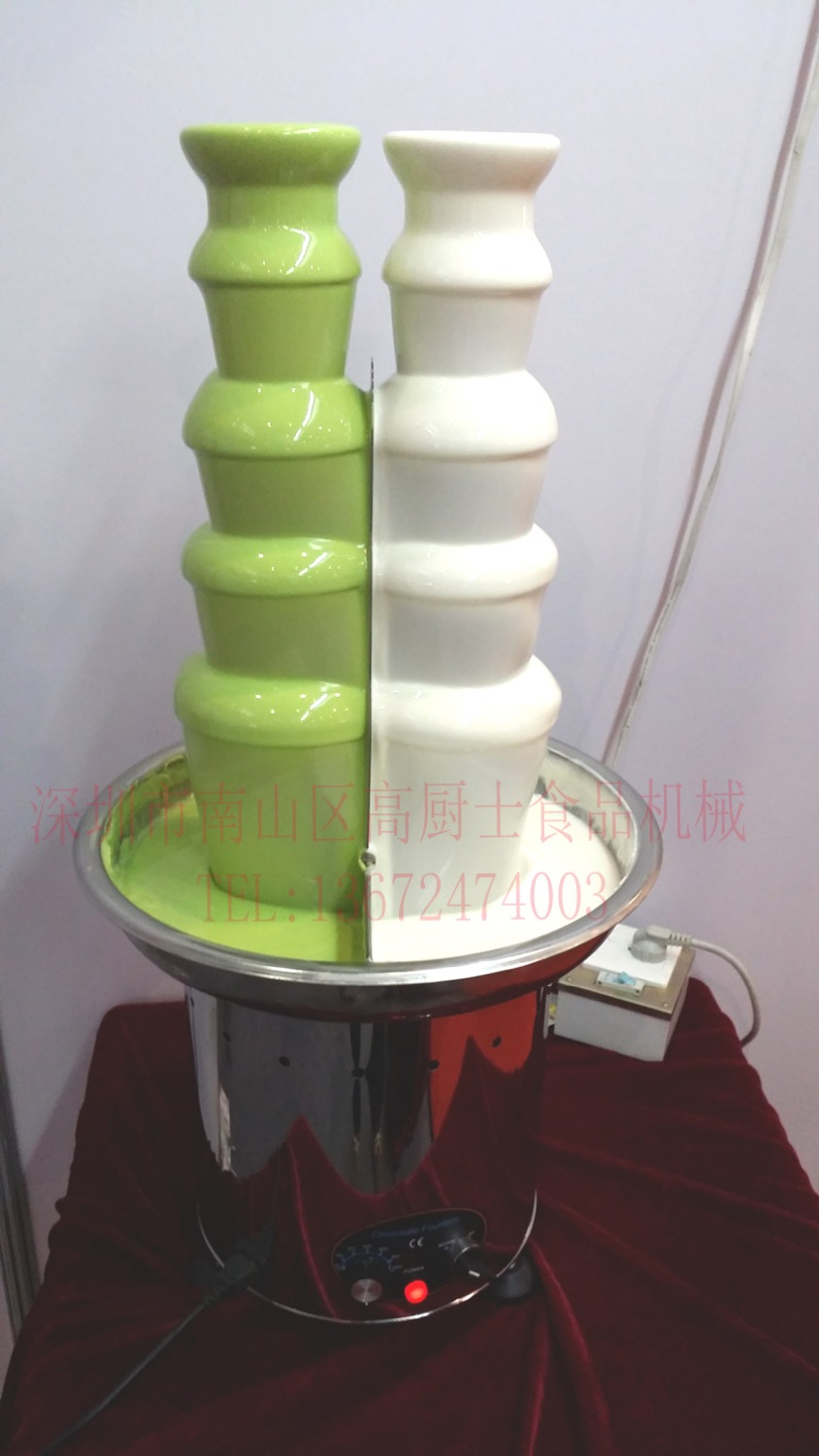 Free Shipping Double Color 5 Tier Chocolate Fountain Machine Good Quality 1 Year Warranty