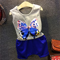 2016 Baby Boys Summer Clothes Set Cotton Casual Sleeveless Butterfly Print Vest Shirt+Blue Shorts Set Toddler Boys Tracksuit 2-7