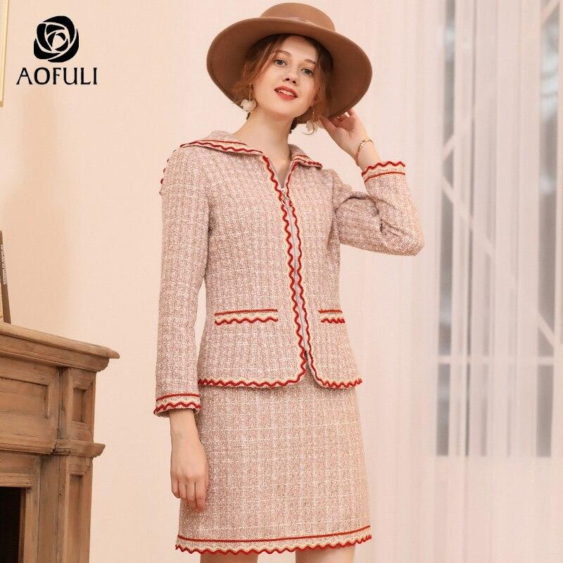 Falda de estilo de Inglaterra de talla grande AOFULI trajes de dos piezas de mujer conjunto de manga larga invierno de lana Twinset cremallera abrigo L  4XL 5XL A3753-in Conjuntos de mujer from Ropa de mujer    2