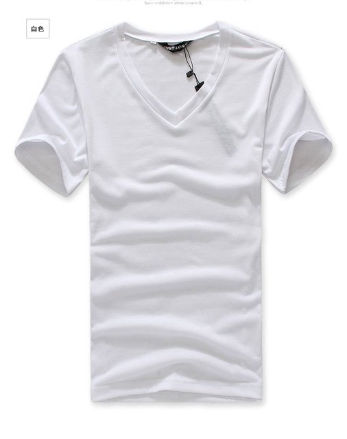 66385461614d White Plain t shirts MEN short v neck T shirt for men-in T-Shirts ...