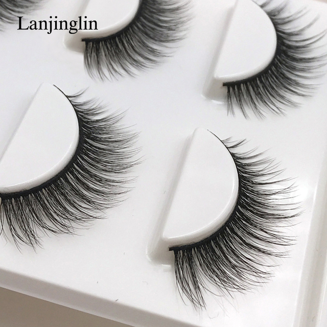 new 3 pairs mink eyelashes natural false eyelashes 3D mink lashes makeup soft fake eyelash extension hand made eye lashes #X09 1