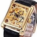 VENCEDOR Homens Luxo Relógio De Pulso Mecânico Pulseira de Couro de Luxo Retro Caso Retangular Esqueleto Relógios de Negócios de Design Da Marca