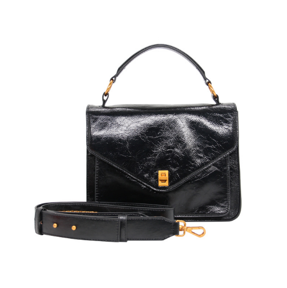 New Fashion Women Handbag Genuine Leather Female Business Briefcase Retro Shoulder Bag Ladies Black Leather Messenger Bags