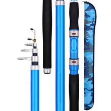 High Quality Carbon Fiber Telescopic Fishing Rod blue Sea Fishing Pole 2 4m 2 7m 3