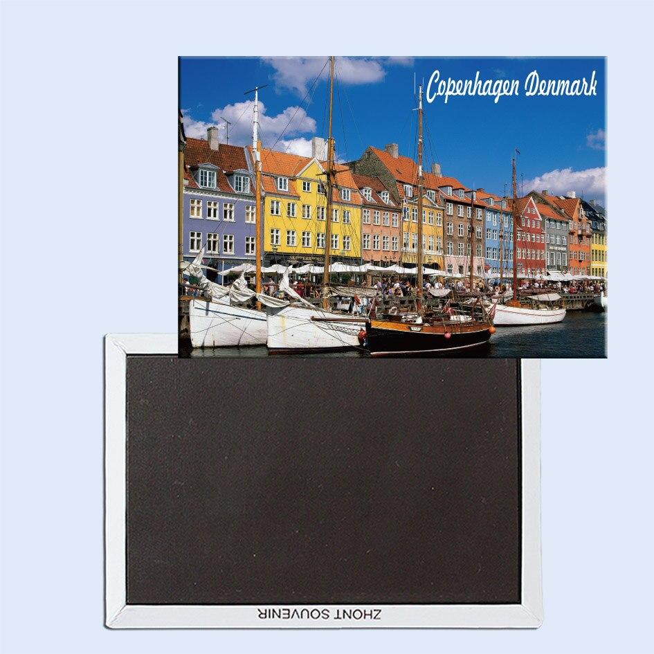 Copenhagen Denmark Fridge magnet Vintage Travel Poster