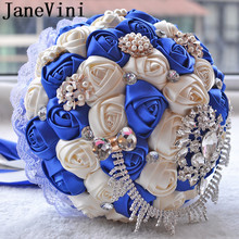 JaneVini Flores Boda Royal Blue Wedding Bridal Bouquet Luxury Crystal Beaded Bride Flower Sposa Rhinestones Satin Brooch