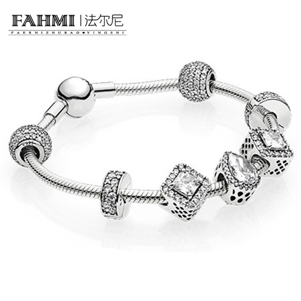 FAHMI925 silver Charm Bracelet Tibetan Silver DIY Glass For Women Fashion European Style Jewelry A birthday presentFAHMI925 silver Charm Bracelet Tibetan Silver DIY Glass For Women Fashion European Style Jewelry A birthday present