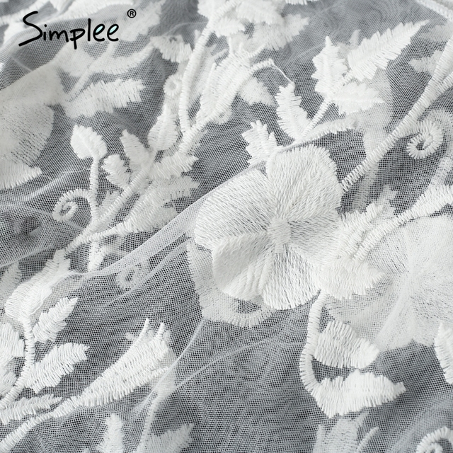 Simplee Embroidery transparent mesh lace blouse shirt Women sexy flare sleeve ruffles white blouse Summer beach long blusas