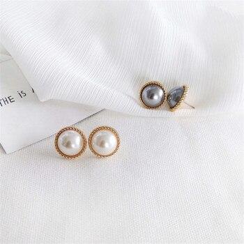 Stud earrings female metal round pearl women stud earrings elegant fashion minimalist pearl stud earrings earrings of women 2