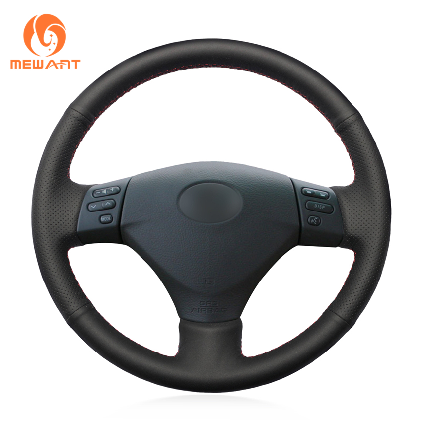 Black Genuine Leather Car Steering Wheel Cover for Lexus RX330 RX400h RX400 2004-2007 Toyota Corolla Verso 2006 Camry 2004-2006