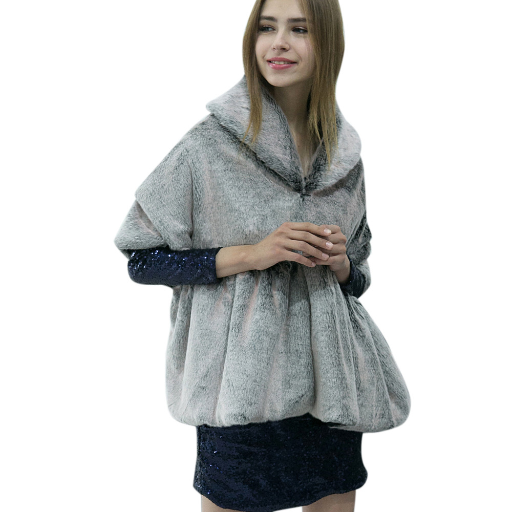 Dz50 Batwing Poncho Cape Overcoat Dropshipping Faux khaki dark Sexy Tops Black brown Coat Warm Gray Ladies Fur Outwear gray Womens Parka 4I0q6f