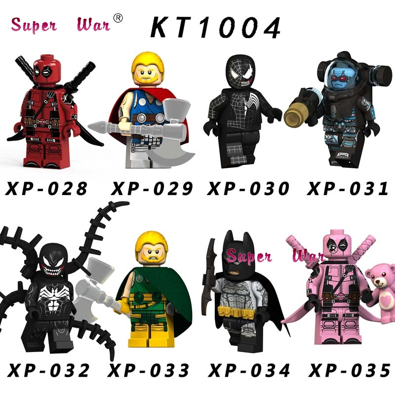 Single Marvel Super Heroes Deadpool Venom Unworthy Hydra Thor Batman Mr. Freeze  Building Blocks Toys For Children(China)