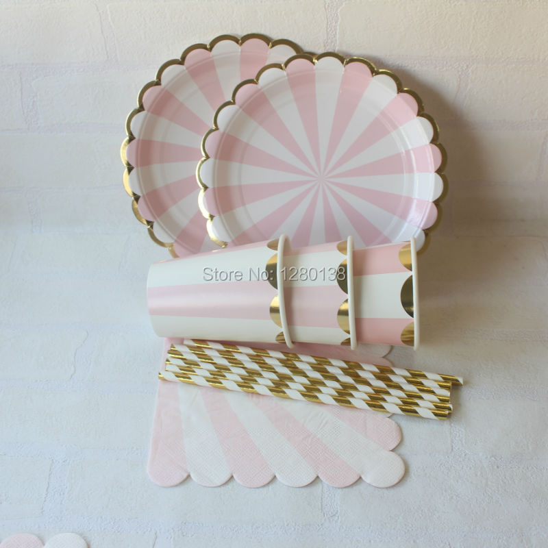 Pink& <font><b>Gold</b></font> Foil Striped Tableware Paper Party Plates <font><b>Cups</b></font> Straws Napkins for New Year Wedding Girl Birthday Decor Supplies