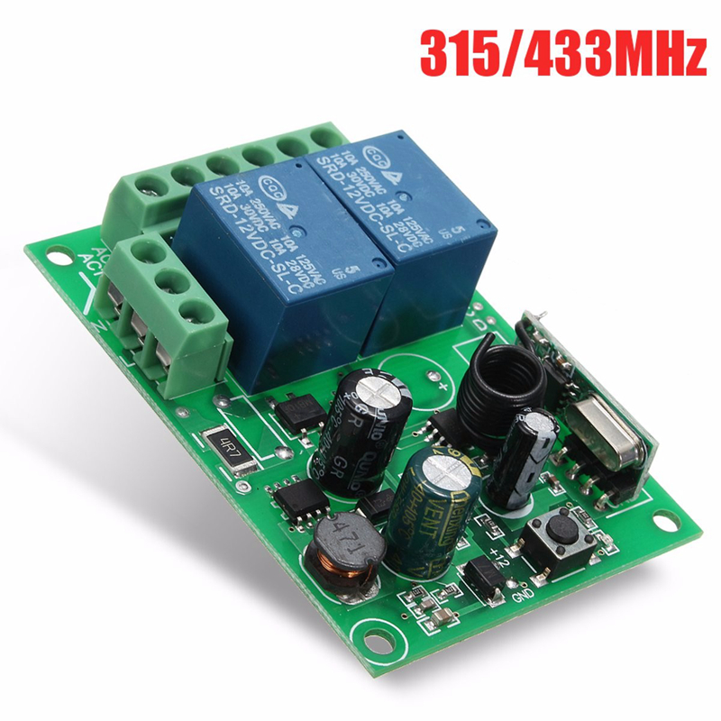 LEORY 220V 10A Wireless Relay RF Remote Control 2 Channel Switch DC 12V 315/433MHz Smart Home Heterodyne Receiver Wholesale