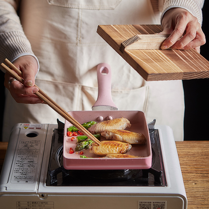 Mail 13 * 18cm Japanese Frying Pan Yuzi Non-stick Pan Mai Rice Stone Pan Easy To Clean Square Frying Pan