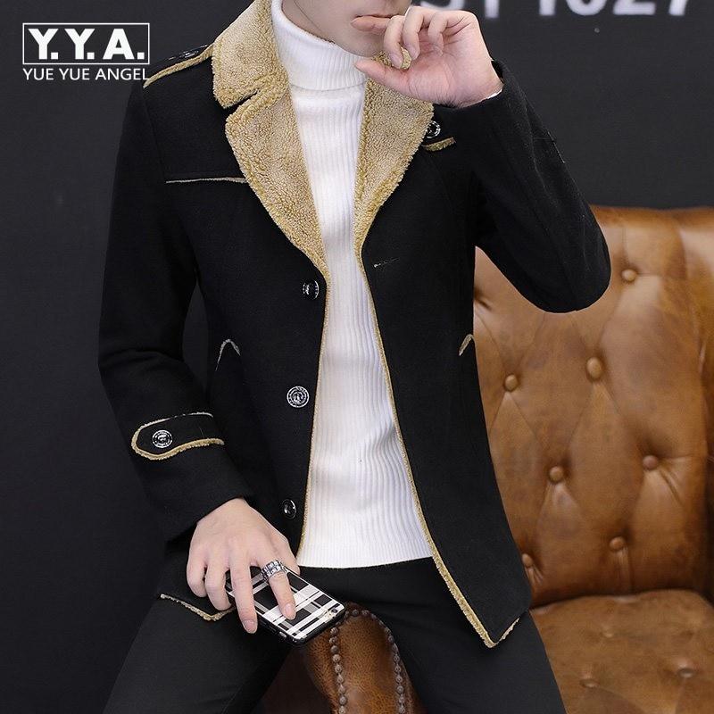 Здесь продается  Fashion Epaulet Mens Winter Fleece Lining Warm Jacket Korean Slim Fit Wool Coat For Men Casual Boys Fur Collar Overcoat Big Size  Одежда и аксессуары