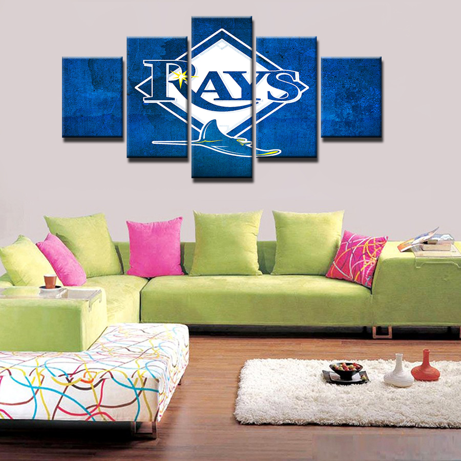 5 Pieces Tampa Bay Devil Rays Modern Home Wall Decor Painting Canvas Art Hd Print Painting Canvas Wall Picture For Home Decor