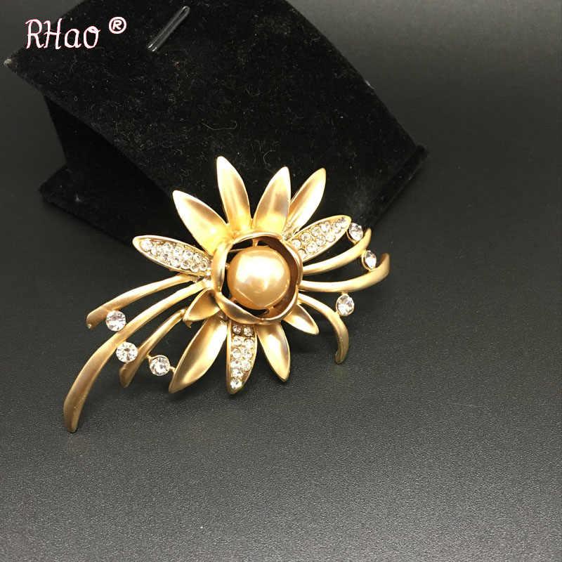 Kualitas tinggi Emas-warna Tanaman Bunga Pernikahan bros untuk wanita pria Berlian Imitasi Korsase Bros pins untuk anak perempuan gaun perhiasan klip