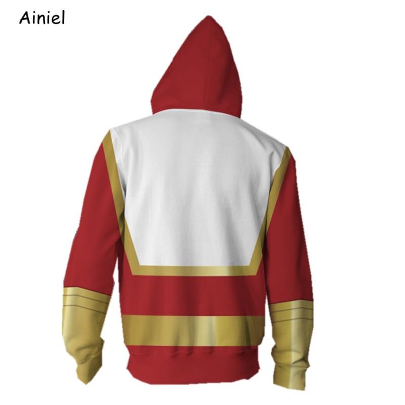 Captain Marvel Billy Batson Hoodie Cosplay Costum Zipper Hooded Jacket Coat