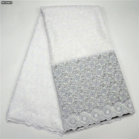 Fashion Style Embroidery White Lace Fabric High Quality 2017 African Swiss Voile Lace Fabric With Stones