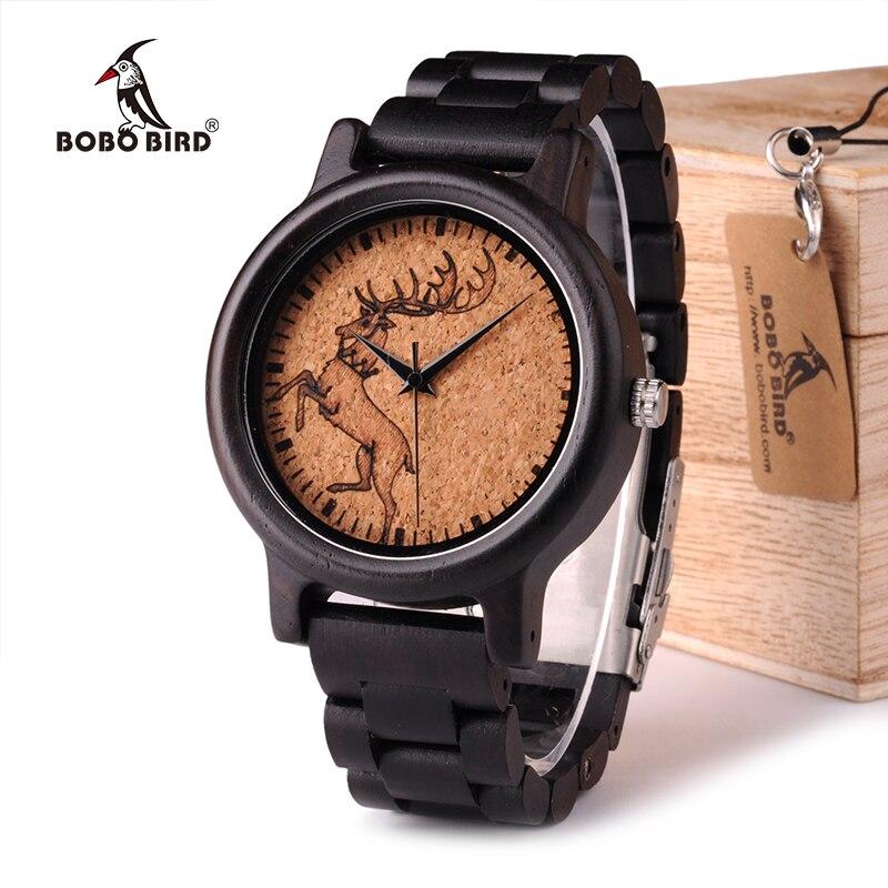 BOBO BIRD WN01N02N03 Ebony Wooden Watch New Top Brand Luxury Black Cool Male Game of Thrones