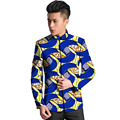 African men's fashion stand collar dashiki blazers thin african print suit tailor made designs of africa coat