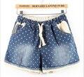 2015 mujeres pantalones cortos de mezclilla de moda de verano europeo tamaño grande cordón de la cintura elástica denim impresa shortxxxl xxxxl5XLgirls impresión cortos