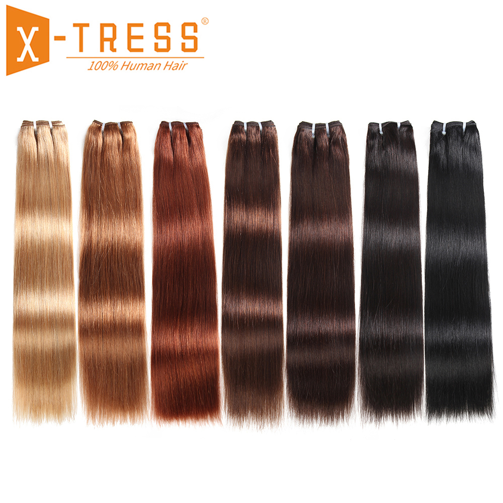 Yaki Straight Human Hair Weaving Blonde Black Color X-TRESS Peruvian Hair Weave Bundles Remy Hair Weft Extensions Free Shipping