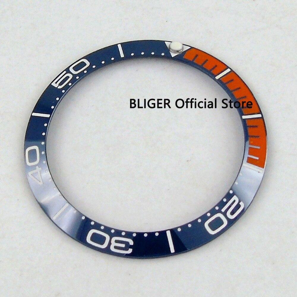 BLIGER 38mm Blue Orange Ceramic Watch Bezel Insert Fit 40mm Sub/GMT Automatic Movement Men's Watch