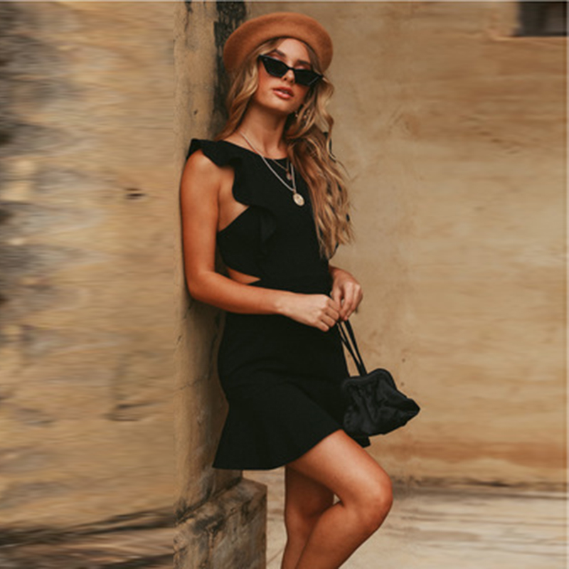 Sexy Ruffled Sleeveless Big Back Beach Vestidos Dress Women Button Halter Dress Bandage Bodycon Above-Knee Clubwear Party Dress