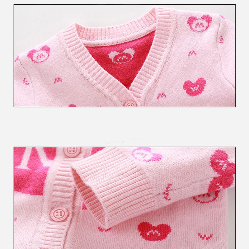 New Cotton Baby Sweater Cartoon Long Sleeve Button Sweaters Single
