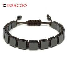 4fb9ee238db1 IRBACOO 2018 pulsera de lujo para hombre 8mm cuentas de piedra de hematita  cuadrada plana con cordón de cuero para hombres pulse.