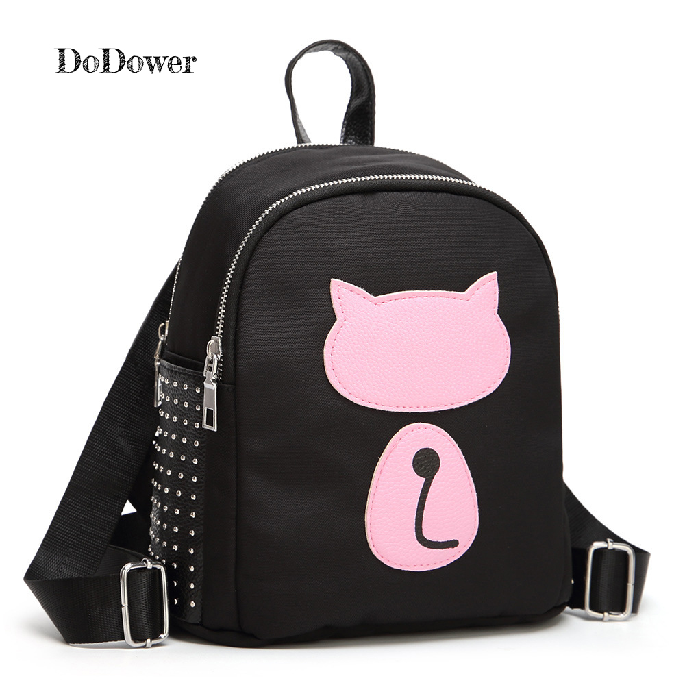 Do Dower Women's Backpack Quality Oxford Cute Cartoon Cat Shoulder Bags for Teenage Girls Backpack Mini Small Female Bag Sac 2017 small fresh mini shoulder bag with three pairs of ears can replace the small backpack cute modeling trend backpack y088