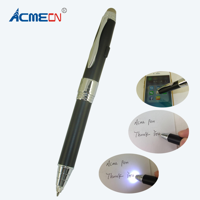 все цены на ACMECN Newest 3 in 1 Multifunction Pen Writing Ball Pen with Touch Scrween stylus for IPhone Luxious Black LED light UP Pen онлайн