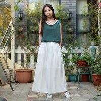 LZJN Summer Linen Pants Elastic High Waist Pantalon White Women Cropped Trousers Nine Points Loose Wide