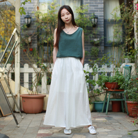 LZJN Summer Linen Pants Elastic High Waist Pantalon White Women Cropped Trousers Nine Points Loose Wide