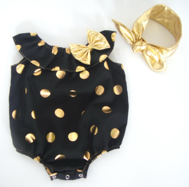 39518913f3a 80%cotton gold dot ruffle rompers roupa infantil baby one piece pompom romper  clothes Summer style newborn baby girl-in Rompers from Mother   Kids on ...
