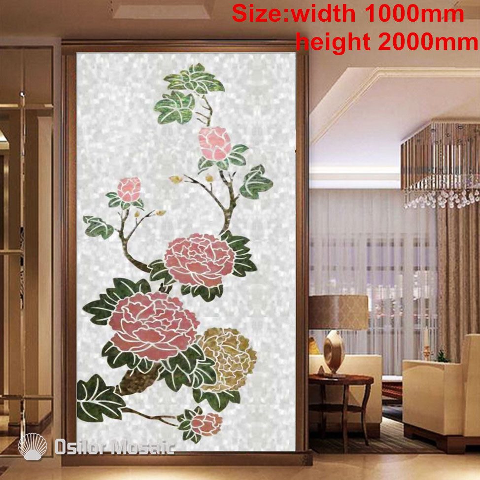 Customized handmade mosaic art mother of pearl mosaic tile art murals for interior house decoration flower pattern brick pattern 100% blacklip sea shell natural black color mother of pearl mosaic tile for interior house decoration wall tiles