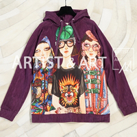 Svoryxiu Autumn Winter High Quality Cotton Pullovers Hoodies Women's Hand Painted Character Printed Runway Loose Sweatshirts