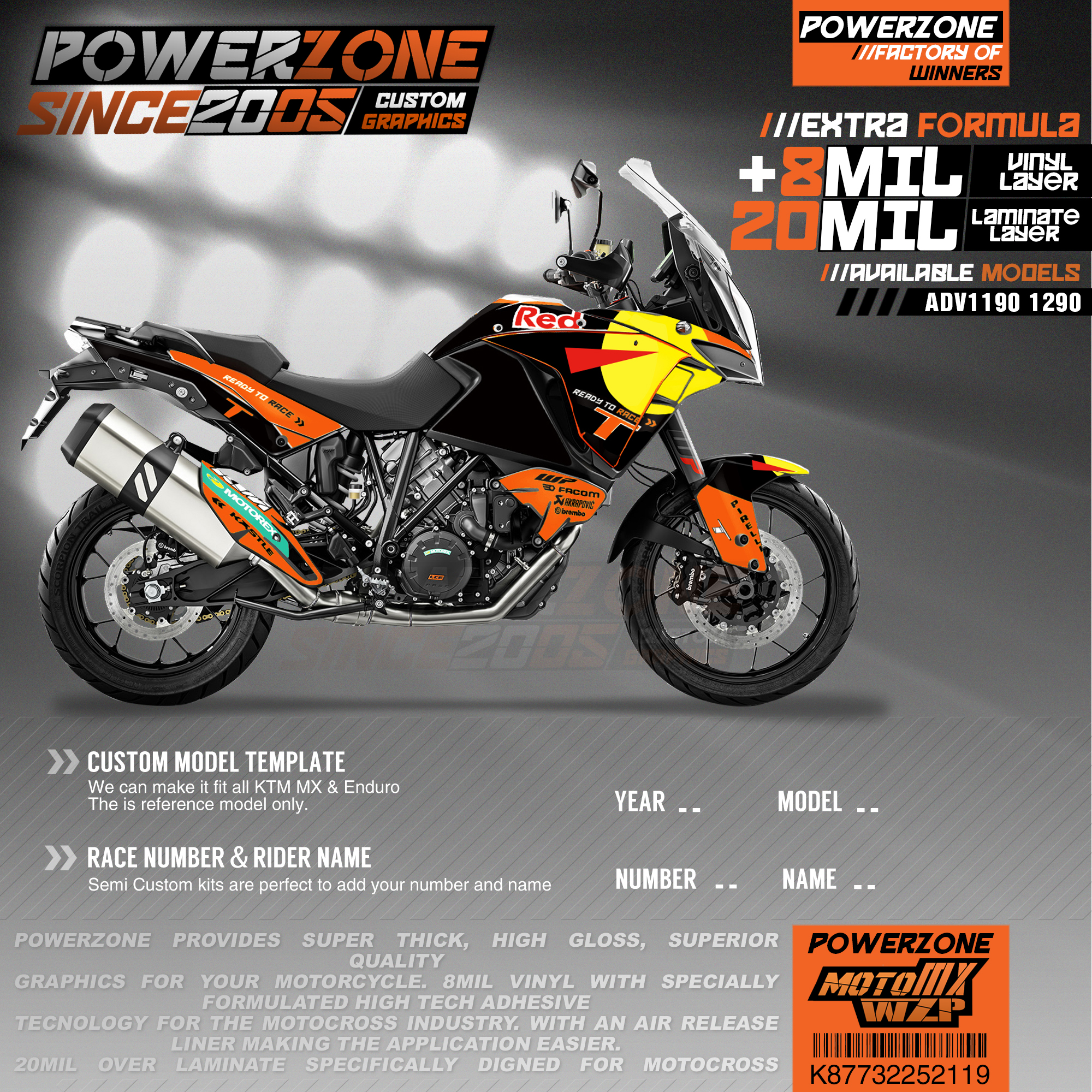 PowerZone Custom Team Graphics Backgrounds Decals 3M Stickers Kit For KTM ADV 1050 1090 1190 1290 119