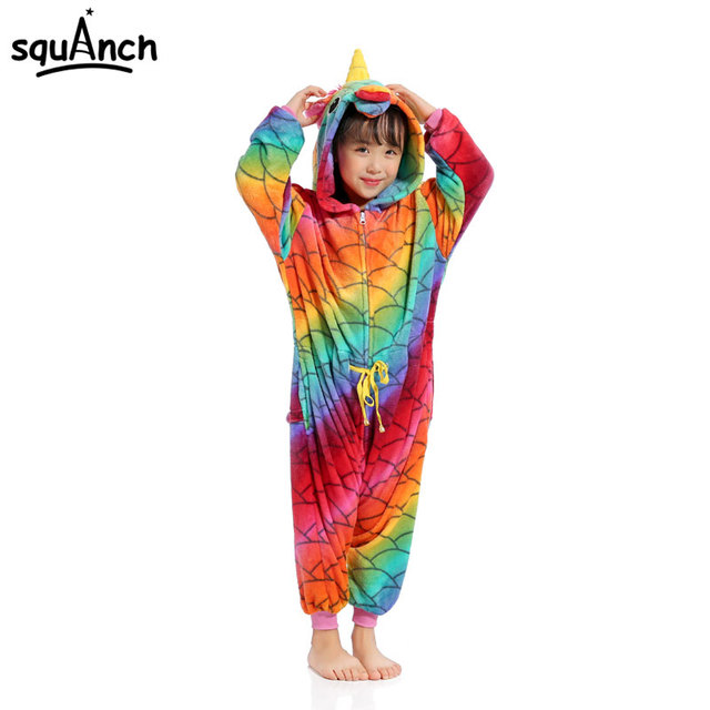 6cdc89a31 Animal Unicorn Kigurumi Kids Girl Zipper Onesie Cartoon Pajama Fish  Printing Jumpsuit Sleepwear Children Festival Games Outfit