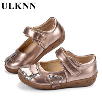 ULKNN Baby Leather Shoes Girls Flat Butterfly Glitter Soft Sole Infants Baby Shoes Leather Wedding Spring