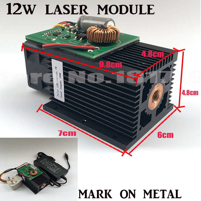 DIY 445nm 12W 12000mW Blue Laser Module High power For CNC Cutter metal steel Engraver Engraving