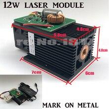 DIY 445nm 12 W 12000 mW Módulo de Láser Azul, de Alta potencia Para Grabador Del CNC de Corte de metal de acero Máquina de grabado Ajustar shiping por DHL