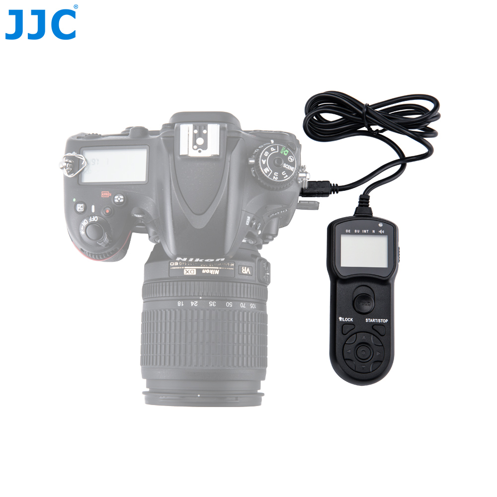 JJC Multi-Function Wired Timer Remote Control Shutter Release Cable Cord for Nikon D5600 D7200 D600 D850 D7500 P7800 D3300 D3100 1 2 lcd wired remote shutter release for nikon camera black